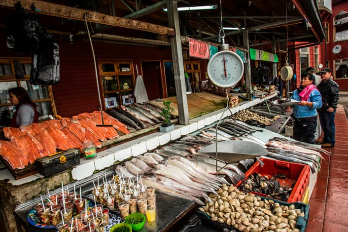 Fresh seafood for sale at the market in Puerto Montt, in southern Chile