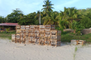 Nicaragua Lobster traps on Beach